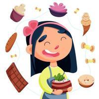 día internacional sin dieta. la mujer ama los postres vector