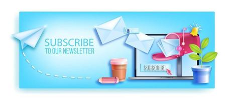 Subscribe email newsletter vector banner, laptop screen, workplace, mailbox, envelopes, notification bell. Mail online business, internet marketing background, airplane. Subscribe newsletter concept