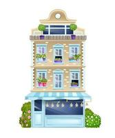 Vintage building facade, old Paris house front view illustration with classic windows, bushes, shop showcase. Old town architecture design element, cottage. House outdoors spring street facade vector