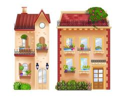 Vector buildings facades, vintage cottages, old town houses isolated on white, rooftops, windows. European traditional city architecture elements, blooming house plants. Vintage buildings front view