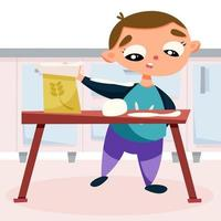 Child in the kitchen making cookie dough vector