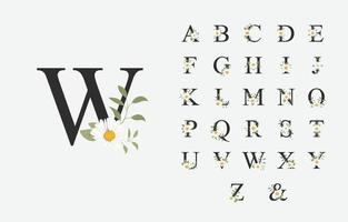 hermoso alfabeto para boda con flor vector