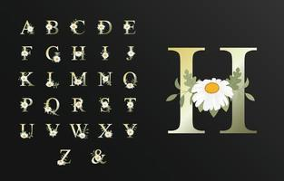Hermoso alfabeto de lujo para boda con flor. vector