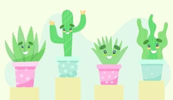 Set of indoor plants with faces vector