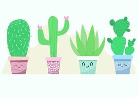 Set of funny plants for home vector