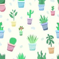 Seamless pattern with potted plants vector