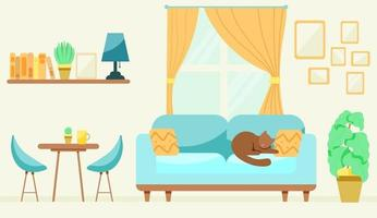 Cozy living room with sofa and table in flat style vector