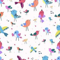 Seamless pattern with birds and songs vector