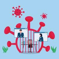 Business flat vector concept illustration. People work online during pandemic.