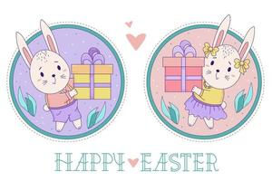A pair of cute rabbits. Easter bunny girl and boy with a big gift box on a decorative round background with leaves. Vector Color illustration. Happy Easter greeting card