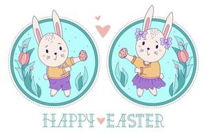 A pair of cute rabbits. Easter bunny girl with bows and in a skirt and a boy in shorts with Easter eggs on a decorative round background with a bouquet of flowers. Vector. Happy Easter greeting card vector