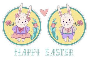A pair of cute rabbits. Easter bunny girl in a skirt and a boy in shorts with a rose on a decorative round background with a bouquet of flowers. Vector illustration. Happy Easter greeting card