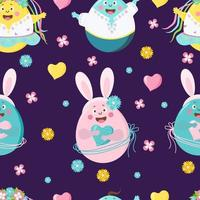 Happy Easter seamless pattern. Funny Easter eggs - girls and boys with faces, emotions and hands, with bunny ears on a purple background with flowers. Vector. For design, decoration, print, wallpaper vector