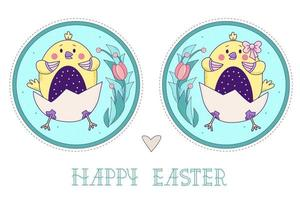 A pair of cute yellow birds. Easter chicks girl and boy in an egg with a bouquet of flowers in a round decorative medallion. Vector illustration. Colorful decorative Happy Easter greeting card
