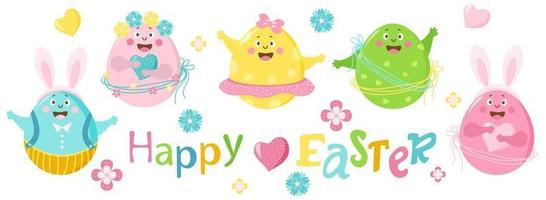 Happy easter. Set of colored cheerful cute Easter eggs with face, eyes and hands. The characters are a boy and a girl, in a skirt and trousers, with flowers and with hare ears. Vector illustration