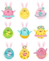 Happy easter. Set of colored cute Easter eggs with face, eyes, hands and bunny ears. The characters are a boy and a girl, in a skirt and pants, with flowers and hearts. Vector illustration