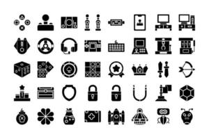 Icon collection of  Games in glyph style. vector illustration and editable stroke. Isolated on white background.