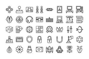 Icon collection of  Games in outline style. vector illustration and editable stroke. Isolated on white background.