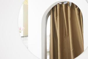 Soft curtain in a modern white room
