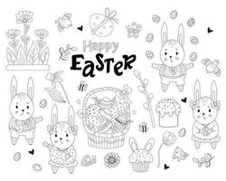 Set of drawings Happy Easter. Cute bunnies girls and boys with Easter eggs in their paws, Easter cakes, birds and butterflies, flowers and basket, bees and leaves. Set oodles outline. Vector