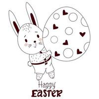 Happy Easter card with Easter bunny. A cute hare boy in pants with a large Easter egg. Vector illustration, outline. Cute animal for Easter design