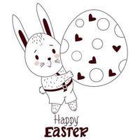 tarjeta de feliz pascua con conejito de pascua. un lindo niño liebre en pantalones con un gran huevo de pascua. ilustración vectorial, contorno. lindo animal para el diseño de pascua vector