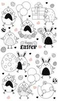 Set of Easter characters. Cute Easter chicks - hatched from an egg, a chicken girl, a boy with Easter eggs and balloons, a box and a gift. Vector, line. For cards Happy Easter, design, decor, print vector