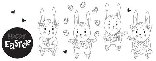 Easter bunny set. Cute bunnies girls and boys with Easter eggs in their paws. Vector. Black line, outline. Cute animal for design, decor, print, cards for Happy Easter. Decorative drawing vector