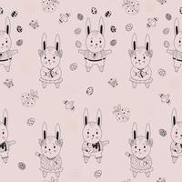 Happy Easter Seamless pattern. Easter pattern of rabbits-boys and girls-hares, eggs, birds and butterflies on a pink background. Vector. outline. For design, decor, printing, packaging and wallpaper vector