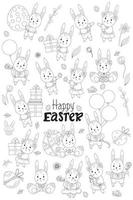 easter collection outline. Cute Easter Bunnies-girls in a dress with a bow, boys in shorts, with flowers, with gift, with an Easter egg, with a balloon, flowers and birds. Vector illustration. line