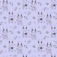 Happy Easter seamless pattern. Easter bunnies - boy and girl, decorative eggs, birds and butterflies on a blue background. Vector. Line, outline. For design, decor, printing, packaging and wallpaper vector