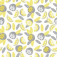 Seamless pattern in yellow-gray color. Decor, citrus fruits, leaves and branches on a white background. Vector illustration. For textiles, wallpaper, design, printing, packaging and decoration