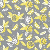 Seamless pattern.Abstract pattern in yellow-gray color. Decor, fruits and leaves on a gray background. Vector illustration. For textiles, wallpaper, design, printing, packaging And decor