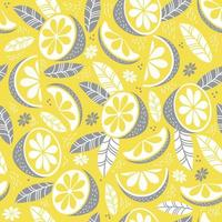 Seamless pattern in yellow-gray color. Decor, citrus fruits, leaves and branches on a yellow background. Vector illustration. For textiles, wallpaper, design, printing, packaging and decoration