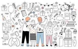 gran conjunto de vectores de garabatos sobre la amistad, las vacaciones y el amor. las personas son amigos: niños y niñas, mascotas y decoración festiva. contorno, línea. aislado sobre fondo blanco