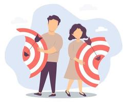 Vector illustration separating the two halves, relationships and teamwork, collaboration and collapse. Business concept - man and woman diverge. Each holds their own half of the target with arrows
