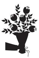 Hand holds a bouquet of flowers and branches. Vector illustration. Black silhouette. For decoration, printing, decoration, postcards and cards, logos