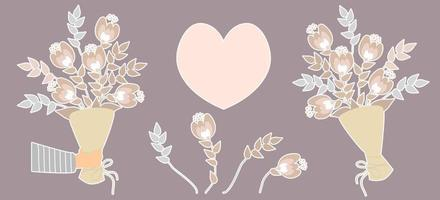 Vector set of stickers. Hand holds a bunch of flowers
