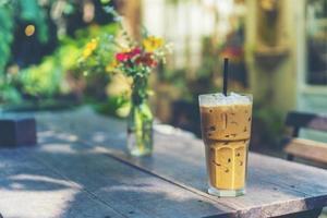 Glass of iced coffee photo
