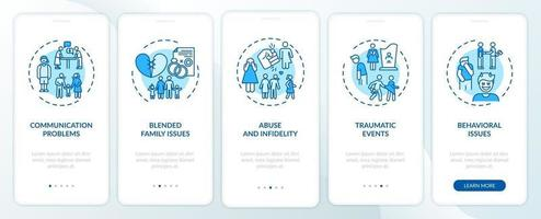 Online family therapy types onboarding mobile app page screen with concepts vector