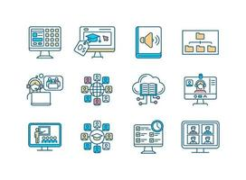 Distance learning RGB color icons set vector