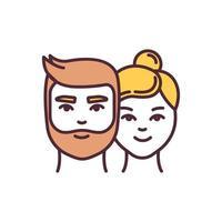 icono de color rgb de igualdad de género vector