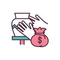 Support small business RGB color icon vector
