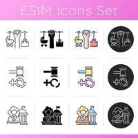 Feminism icons set vector