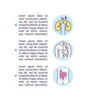 Icono de concepto de complicaciones renales y dermatológicas con texto vector