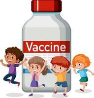 personaje de dibujos animados de niños felices con botella de vacuna covid-19