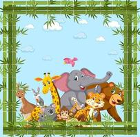 Wild animals group with bamboo frame vector