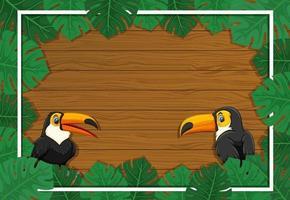 Banner vacío con marco de hojas tropicales y personaje de dibujos animados de tucán vector