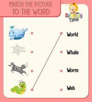 Match the picture to the word worksheet for children vector
