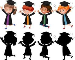 conjunto, de, diferente, niños, llevando, toga de graduación, con, silueta vector